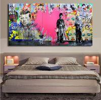 pop ölgemälde großhandel-Pink liebt Pop Art Ölgemälde Leinwand Malerei Andy Warhol Wandkunst Bilder Cuadros Home Decoracion für Wohnzimmer