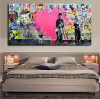 ingrosso dipinti a olio pop-Pink Loves Pop Art Dipinti ad olio su tela Pittura Andy Warhol Wall Art Immagini Cuadros Home Decoracion For Living Room