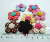 Wholesale Handmade Garment Covers - 20pc Cute Polka Dot Flower Fabric Covered Button Flatback Cloth Sewing Button Jewelry Accessories for Handmade DIY Garment 33mm M65512