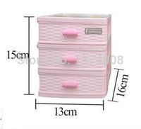 Wholesale Plastic Clothing Cabinet - Free Shipping High-grade 1set 3 Layer Fashion Pink Mini Plastic Storage Box S Jewelry Drawer desktop storage cabinets parts boxs