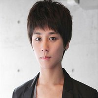 Wholesale Cheap Cosplay Fast Shipping - fast shipping high quality in stock wig heat resistant cheap mens wigs synthetic wig cosplay sexy Korean Boys short hair wigs