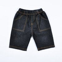 Wholesale 6t Boys Denim Jeans - Retail kids Denim shorts 2015 summer style fashion baby jeans girls clothes children cowboy pants solid boys clothing for 2-6T 201508HX