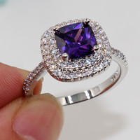 Wholesale Amethyst Ring 11 - Fashion jewelry Nice Emerald Cut 8mm Amethyst Diamonique 925 sterling Silver filled for Women Engagement Wedding Ring Size 5-11 gift