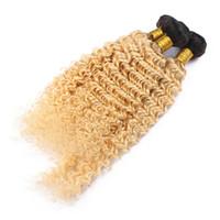 Wholesale dark blonde curly hair extensions online - Ombre Blonde Color Deep Wave Hair Weft Extension Inch Dark Roots Unprocessed Brazilian Virgin B Deep Curly Hair Bundles