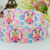 "Wholesale Printed Grosgrain Ribbon Minion - Free shipping 7 8"" 22mm Cute Minions Girls dots pink Printed grosgrain ribbon hai rbow DIY handmade OEM 50YD"