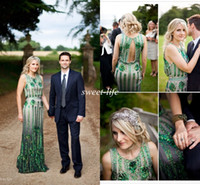 Wholesale Emerald Wedding Dresses - Emerald Green Jenny Packham Wedding Dresses Vintage Sheath Luxury Sequin Crew Open Back 2015 Sheath Spring Garden Wedding Gowns Floor Length