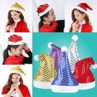 Wholesale Wholesale Kids Party Tableware - 5 Color Sequins Kids Christmas Hat Xmas Adult Solid Party Decor Christmas Caps Christmas Decorations Tableware Holder WX9-127