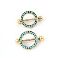 Wholesale Sexy Pierced Ladies - 2016 14G Sexy Lady Jewelry 316L Surgical Steel Nipple Jewelry Trendy Round Antique Gold Plated New Design Unique Nipple Piercing Ring 10Pcs