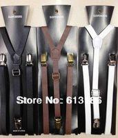 Wholesale Skinny Braces - Free Shipping 2014 New Styles Fashion Women Men 1 .5CM Wide Skinny Black PU Leather Suspenders,Leather Braces Adjustable