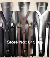 ingrosso donne di bretelle nere-Il trasporto libero 2014 nuovi stili adatta le donne / uomini 1 .5cm larghe bretelle di cuoio nere scarne dell'unità di elaborazione, bretelle di cuoio registrabili