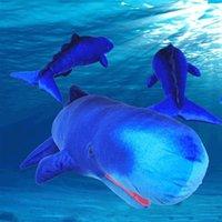 balina peluş oyuncak toptan satış-2018 sıcak satış Simüle Sperm Balina Dolması Oyuncak Peluş Yumuşak Hayvan Deniz Balık Mavi Balinalar Bebek Güzel Çocuk Hediye 80 cm X 31 cm