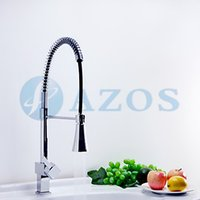 Wholesale Hose Faucet Light - 3 Color LED Light Change Swivel Spring Hose Pull Out Down Spray Nickle Brush Antique Brass Black Mixer Kitchen Sink Faucets