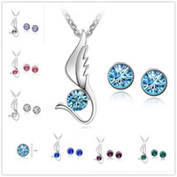 Wholesale Wings Charm Cheap - 2016 Hot White Gold Plated Austrian Crystal Jewelry Sets Angel Wing Charms Necklace Round Crystal Stud Earrings Cheap Wedding Jewelry Sets