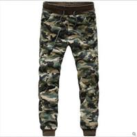 Wholesale Boys Cuffed Jeans - Camouflage Jogger jogging Pants Men Cuffed Twill Casual Hip Hop Camo Pants Hiphop Harem Pants Jeans Trousers Pantalones Male Boy free shippi