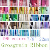 Wholesale Craft Hair Bows - 7 8 22mm Superior Quality 196 Solid Colors Grosgrain Ribbon for Party Sewing Hair Bow Craft Packaging, OEM 100 Yards Lot for 1 Color