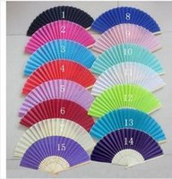 Wholesale april 18 - 2015 Brand New 100Piece Lot Folding Wedding Silk Fan Personalized Wedding Favors For Guests 18 color fedex or DHL free shiping