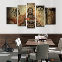 Wholesale Buddha Wall Panel - 5 Piece Canvas Wall Art Buddha Painting On Canvas Abstract Print Pictures Home Decor Wall Pictures For Living Room picture on wall