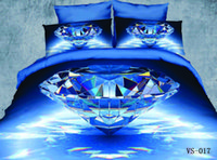 Wholesale Diamonds Duvet - Blue Diamond Printed New Modle 4pcs 6Pcs 3D Bedding Sets Full Queen King California King Size Flat Bed Sheet Or Fitted Bed Sheets