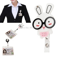 Wholesale-Rosa-reizende Kristall Bunny Rabbit mit Brille Mirror of ID / IC-Badge Reel Clip Flexible Wechselarmatur