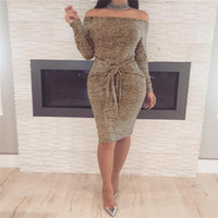 Wholesale Long Sleeve Red Bandage Dress - 2018 Spring Women Vestidos Dresses Elegant Evening Sexy Party Dresses Vintage With Slash Neck Casual Club Dress Bandage For Womens Clothing