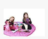 grand tapis de jeu pour bébé achat en gros de-Livraison gratuite 150 cm Portable Enfants Enfants Bébé Tapis de Jeu Grand Sacs De Rangement Jouets Organisateur Couverture Tapis Boîtes