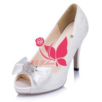 Wholesale Plastic Bow Charms - Brand New Cheap Shoes White Lace Pumps Bridal Beaded Bow Shoes Peep Toe Wedding & Party Shoes WS0038W Customise Size 33 to 43