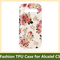 Wholesale Wholesale Water Chimes - Wholesale Tribe Animal Elephant Owl Bear Cat Flower Wind Chime Soft Gel TPU Cover Case for Alcatel One Touch Pop C5 100pcs lot Free Ship