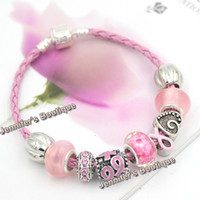 Wholesale Diy Pink Ribbon - Free Shipping New Arrival Breast Cancer Awareness Jewelry DIY Interchangeable Pink Ribbon Breast Cancer Bracelet Jewelry Wholesale