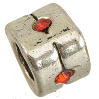 Wholesale Crystal Cube Beads 6mm - Beads Charms Fit DIY Pandora Bangles Necklaces Thailand Silver Red Crystals Triangle Large Hole Alloy Chic Jewelry Findings 8*8*6mm 100pcs