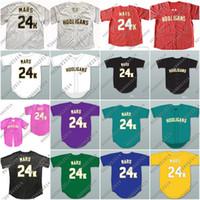 Wholesale K L - Hooligans Bruno Mars 24 K Bianco Awards Gessato Baseball Jersey Men Women Youth di Ritorno Al Passato Per Gli Uomini Cucito Button Down