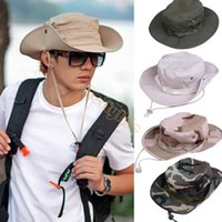 Wholesale Woodland Boonie - Hot Sale 2014 New Men Fishing Hiking Boonie Snap Brim Military Bucket Sun Hats Cap Woodland Camo New b7 SV003003
