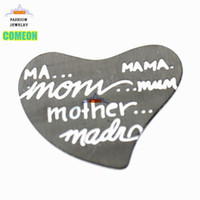 Wholesale Mama Floating Locket Charm - Stainless steel mother mom mama floating back plates black curved heart floating locket plates floating charm window plate