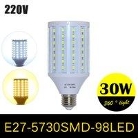 kolye yüksek tavan ışıkları toptan satış-Süper Güç LED lambalar Yüksek Lümen 5730 SMD Mısır Ampul E27 30 W 98 LEDs Kolye işıklar Avize AC 220 V 240 V Tavan işık 1 adet / grup