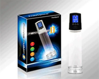 Wholesale Electronic Penis Enlargement - Electronic LCD Penis Pump USB Rechargeable Male Vacuum Penis Extender Pump Suction Penis Enlargement Sex Toys by DHL