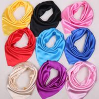 Wholesale Wholesale Neck Silk Scarves - Women's Satin Silk Square Scarf Wrapped Neck Head Wrist Multi-functional 60*60cm Solid Plain Scarf Women Fashion Soft Wrap