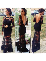 Wholesale Kardashian Lace - Free Shipping Kim Kardashian Black Trumpet Mermaid Bateau Backless Long Sleeves Applique Sweep Brush Train Lace Evening Dress Prom Dresses