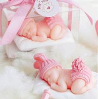 kerzen baby souvenir großhandel-10 stücke Rosa Nette Baby Kerze Für Hochzeit Geburtstag Baby Dusche Souvenirs Geschenke Gunsten NEUE ANKUNFT