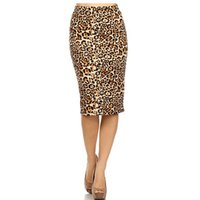 Wholesale Ladies Leopard Print Skirts - Wholesale- 2017 Hot Ladies New Fashion Women's Leopard Pencil Skirt High Waist Floral Grid Printing Middle Skirts Muti Colors