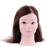 "Wholesale Salon Mannequin Head Human Hair - 16"" 90% Human Hair Long Hair Hairdressing Training Head Model with Clamp Stand Practice Salon Doll Mannequin Head"