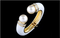 Wholesale Pearl Bangles Designs - Fashion Bracelets & Bangles Handmade Enamel Man Made Pearl Vintage Flowers Design Jewelry 18k gold plated bangles BR-03155