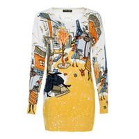 ingrosso abiti da lavoro gialli-Moda di marca Straight Work Wear Donna Fashion Block Colore Giallo Manica lunga Paris Stampa Casual Paris Stampa Mini abito maglione FG1510