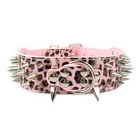 Wholesale Strong Leather Collars - 2inch wide dog collars Pink Leopard Strong Leather Spiked Studded Dog Collars for Pit bull XL L M S