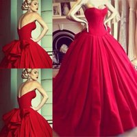 Wholesale Strapless Big Long Wedding Dresses - Vintage Princess Red Wedding Dresses Formal Dress Ball Gowns Bodice Sweetheart Floor Length Big Bow Back Backless Wedding Bride 2015 A-Line