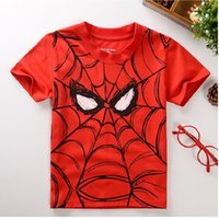 40pcs / lot Red Spiderman-Jungen-Kleidung T-Shirts Sommer Sleeved Tops Günstigstes Superman Kinderkleidung Günstigstes Cartoons Kids T Shirts