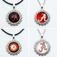 Wholesale Sports Team Jewelry - 10PCS NCAA Alabama Sports Team Round Charm Pendant Necklace Jewelry 20mm Glass Time Gem For Fans Sports Pendant Necklace