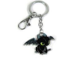 Wholesale metal dragon car - How To Train Your Dragon 2 Toothless Night Fury Animal Keychain For Keys Car Bag Key Ring Handbag Couple Key Chains Gifts Accessories