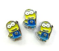 Wholesale Enamel Floating Charms - High Quality 20PCS lot Enamel Minions Floating Charms DIY Alloy Accessories Fit For Glass Living Locket