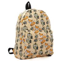 eule schultaschen taschen großhandel-2015 Cartoon Owl Fox Mädchen / Jungen Student Umhängetasche Mode Frauen Reisetasche Leinwand Schule Rucksack