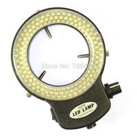 cámaras industriales al por mayor-Al por mayor-ajustable 144 LED luz del anillo iluminador Lámpara para la industria Microscopio estereoscópico lupa de la cámara digital con adaptador de corriente alterna