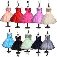 Wholesale Chiffon Flower Belt - girls formal 3d flower dress princess party bow kids sequin dress sleeveless gown dresses flower belt red blue 2 colors free shipping